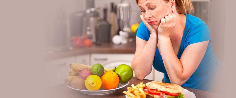 Woman looking at fruits